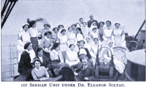 A black and white image of a group of nurses