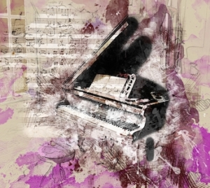 A print including an abstract purple background, superimposed with handwritten sheet music and the outline of a piano