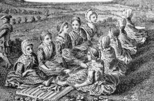 A black and white engraving of 10 women sitting opposite one anotehr in a field, fulling cloth and singing