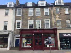 Colour photograph of the storefront at 59 George St, Edinburgh, currently occupied by a lululemon athletics shop