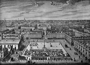 A black and white engraving of covent-garden, viewed from above, looking towards the north of London