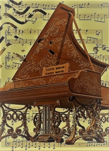 A colour painting of an ornate brown harpsichord superimposed on top of a musical score for piano. This image is used to represent composer Maria Barthelemon.