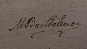 A black and white image of composer maria barthelemon's signature