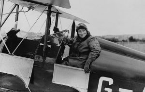 A black and white image of Mary Russell in the cockpit of her plane, c. 1935