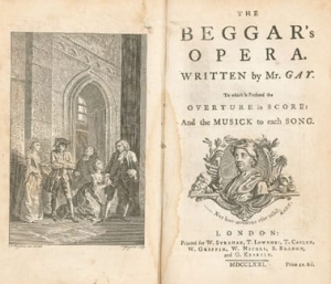 a scan of the opening two pages of the score of The Beggar's Opera. There is a black and white scene on the left hand page, depicting the characters in the opera, and a title page on the right.
