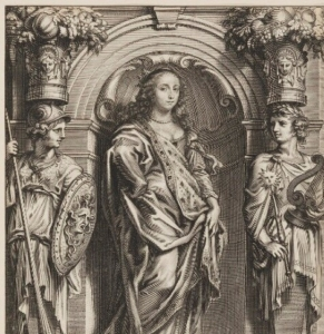 A black and white image of an engraving depicting a woman in the centre wearing lavish silk clothing, flanked by two soldiers holding a spear, shield and a lute