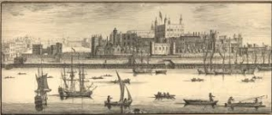 A sepia coloured 18th-century engraving of the Tower of London