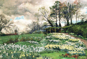 A colour painting of a garden filled with yellow and white flowers