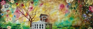 A colour painting of an abstract panorama including buildings in the centre backgrounded by a wispy tree, colourful flowers and green grass