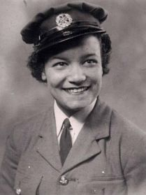 A black and white photo of Aircraft Instrument Engineer Lilian Bader in military uniform