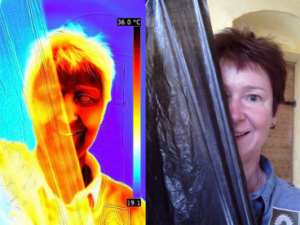 On the right, a colour photograph of a woman's face with brown hair holding a bin liner diagonally over the half of the image. On the left is the same image run through thermal imaging software, making the bin liner transparent.