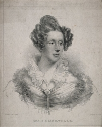 A black and white portrait of mathematician and physicist Mary Somerville