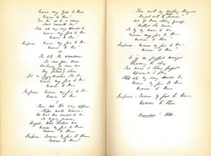 A scan of two pages from an old book with intricate italicised handwriting