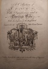 A colour photo of the front page of a collection of songs by Elizabeth Turner, with elaborate calligraphy and a detailed frontispiece detailing a women at the piano and a man standing next to it.