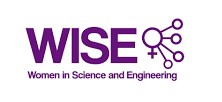 A logo for WISE (Women in Science and Engineering) in purple text
