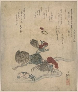 A scan of a japanese print with inscriptions at the top and a painting of a river at the bottom, with a blue crab and some green and red foliage
