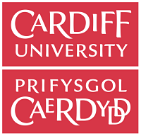 Red logo of the university of cardiff with welsh translation below